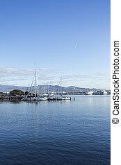 Hakodate port sea with boat. Hokkaido. Hakodate. Japan
