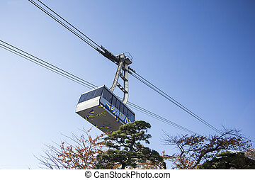 Hakodate ropeway with bluesky. Hokkaido. Hakodate. Japan