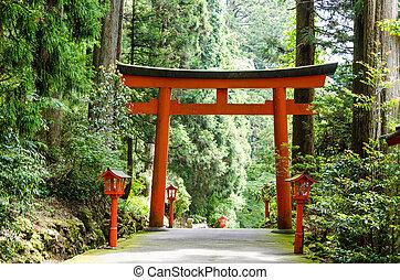 Hakone shrine - Entrance of the shrine Hakone in Japan.