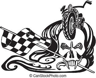 halál, és, tarka, flag., vektor, illustration.