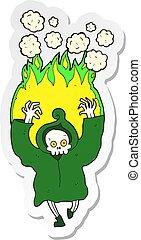 halál, csontváz, tánc, böllér, lángoló, karikatúra
