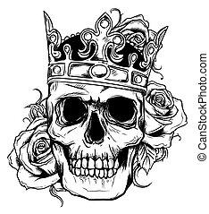 halál, koponya, fejtető, ábra, agancsrózsák, vektor, emberi