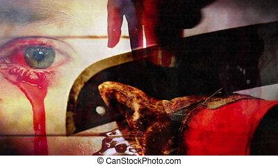 halál, szem, horror, élezés, vér, széles pengéjű kés