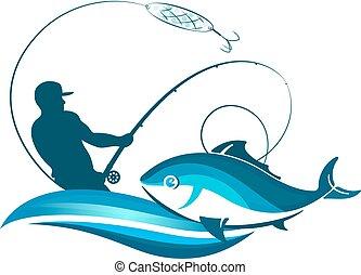 halász, beakad, rúd, fish, halászat