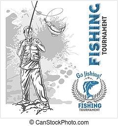 halász, -, háttér, grunge, rúd, halászat