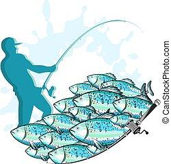 halász, horgászbot, fish
