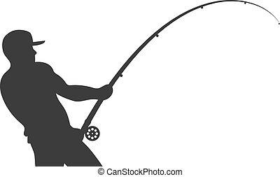 halász, rúd, vektor, árnykép, halászat