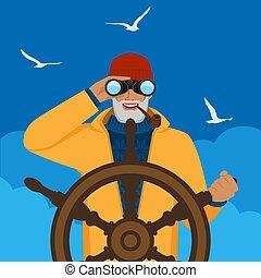halász, távcső, vezetés, át, külső van, csónakázik