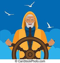 halász, vezetés, ég, ellen, felhős, sirály