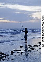 halászat, alatt, a, tenger