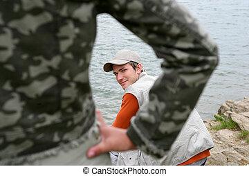 halászat, -ban, egy, tó