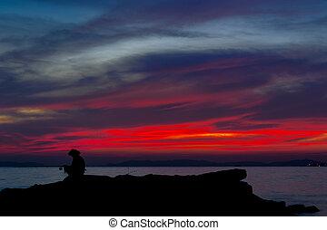 halászat, ember, képben látható, egy, tó, -ban, sunset.