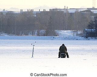halászat, jég