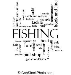 halászat, szó, felhő, fogalom, alatt, fekete-fehér