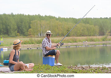 halászat, tó