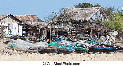 halászat, tengerpart, csónakázik