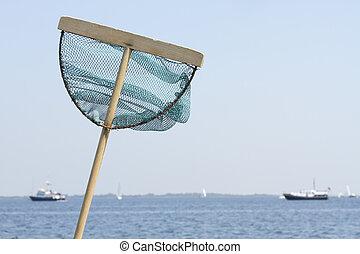 halászháló, -ban, a, tengerpart