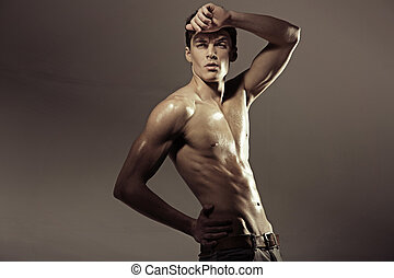 hal-naked, muscular, atleta, homem, .