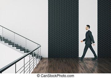 hala, biznesmen, wewnętrzny, pieszy, minimalistic, schody