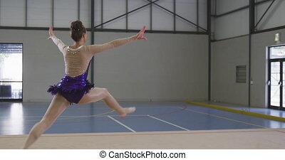 hala, gimnastyk, samica, spełnianie, lekkoatletyka