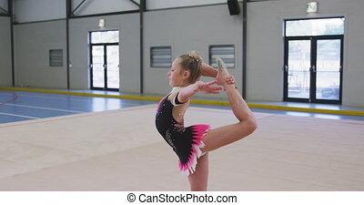 hala, gimnastyk, teenage, samica, spełnianie, lekkoatletyka