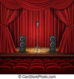 hala, teatr, wektor, rusztowanie, loudspeakers, mikrofon