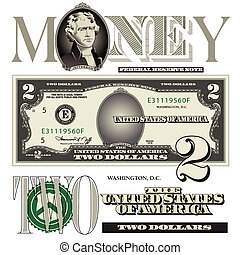 halabarda, dolar, dwa, elementy