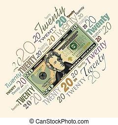 halabarda, od, dolar, graficzny, dwadzieścia