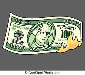 halabarda, ogień, dolar, rysunek