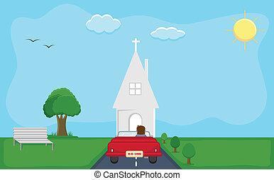 haladó, -, karikatúra, templom