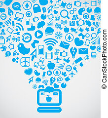 haladó, média, modern, lefelé, számítógép, társadalmi, ...