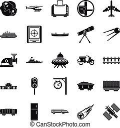 haladó technology, ikonok, állhatatos, egyszerű, mód