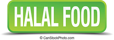 halal food green 3d realistic square isolated button