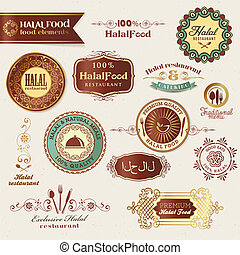 Set of vector labels and elements for Halal food
