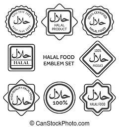 Halal food product labels. Islamic kosher certified arabic meal emblem templates. Vector illustration