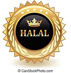 Halal gold badge.