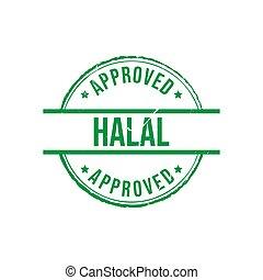 Halal label approved grunge round vintage rubber stamp vector image