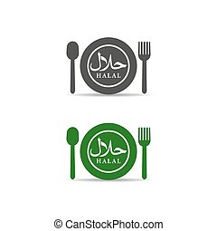 Halal logo design with spoon, plate and fork vector illustration. Halal food emblem certificate tag. Food product dietary label on white background.