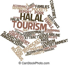 Halal tourism - Abstract word cloud for Halal tourism with...