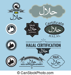 halal vector label set