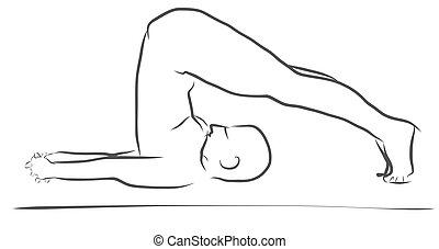 sukhasana easy pose yoga figure clean outline handdrawn