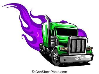 halb, abbildung, vektor, design, truck., karikatur