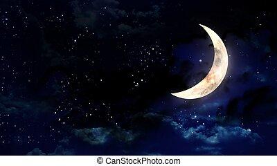halber mond, in, der, nacht himmel