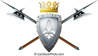 halberds shield and crown