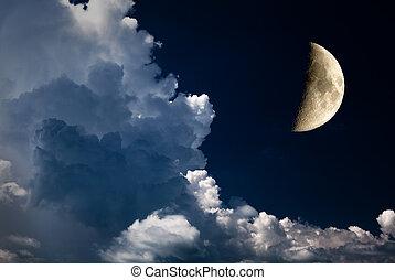 halbmond, und, nacht himmel