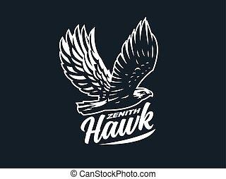 halcón, águila, o, extendido, wings.