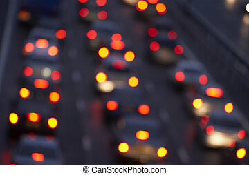 hale lyser, lysende, brightly, ind, en, trafik jam, på,...