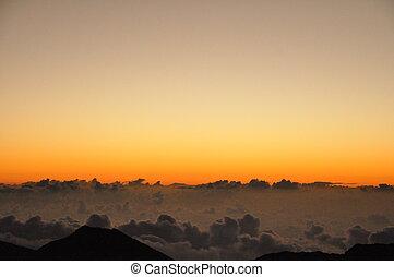 haleakala, napkelte, alatt, hawaii