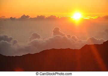 haleakala, solopgang, ind, hawaii