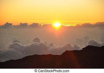 haleakala, východ slunce, do, havaj